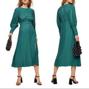 NWT Topshop long sleeve jacquard midi dress